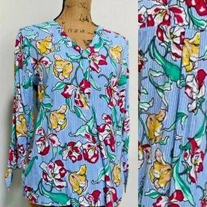 3/$30 Apt 9 pin stripe floral top size XL